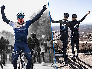ONE Pro Cycling and Team Virtu Cycling on the road with F.3