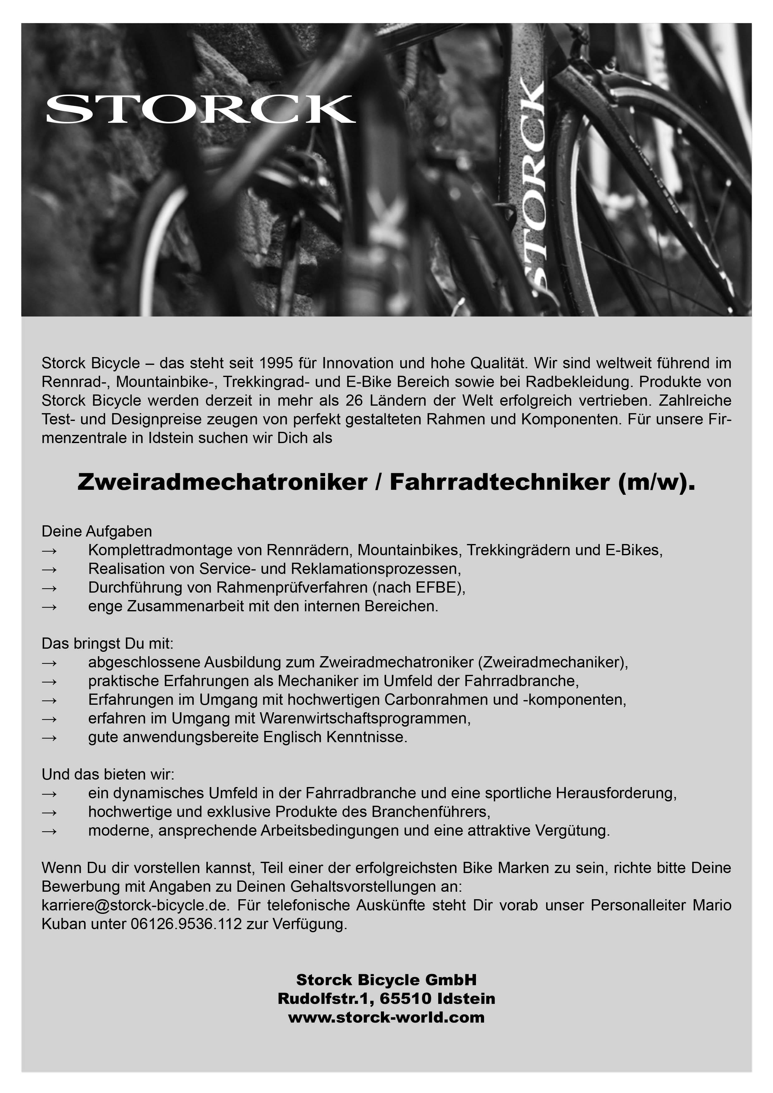Zweiradmechatroniker/Fahrradtechniker (m/w)