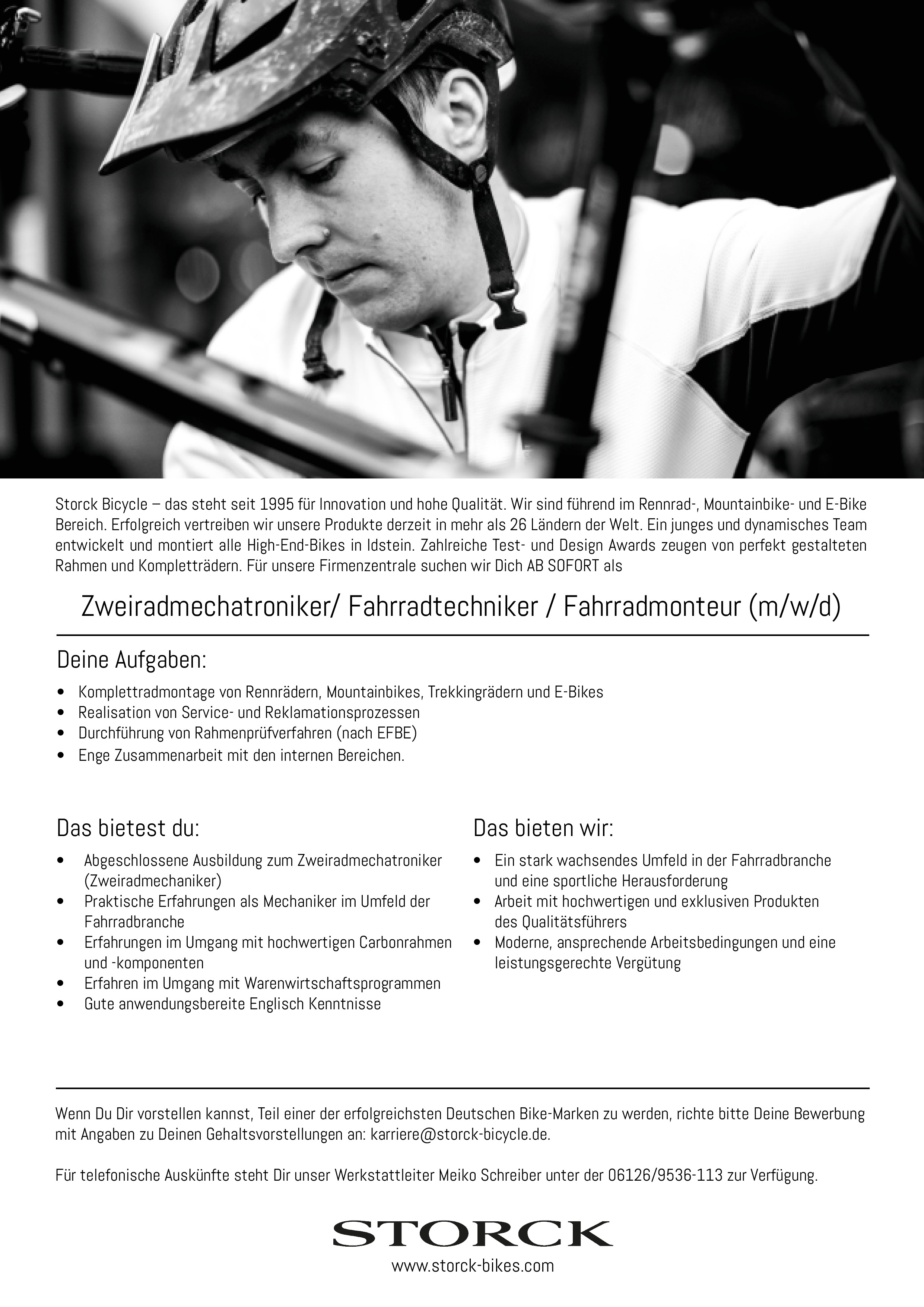 Zweiradmechatroniker/ Fahrradtechniker / Fahrradmonteur (m/w/d)